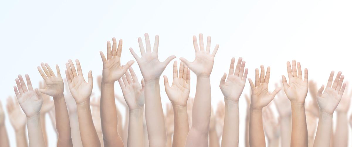 Jobs-winkende Hände